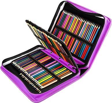 YOUSHARES Estuche 180 ranuras de color lápiz caso tela de PU gran capacidad pluma/lápiz organizador con correa para lápices de acuarela, plumas de gel (Morado): Amazon.es: Oficina y papelería