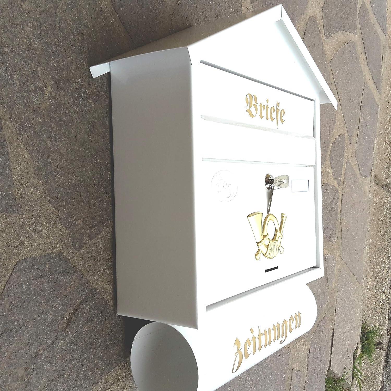 Flachdach R/&D Stabiler Briefkasten Flachdach Katalogeinwurf Premium-Qualit/ät mit Schutzlackierung Verschiedene Modelle XXL Wei/ß mit Zeitungsrolle fertig montiert Postkasten Post