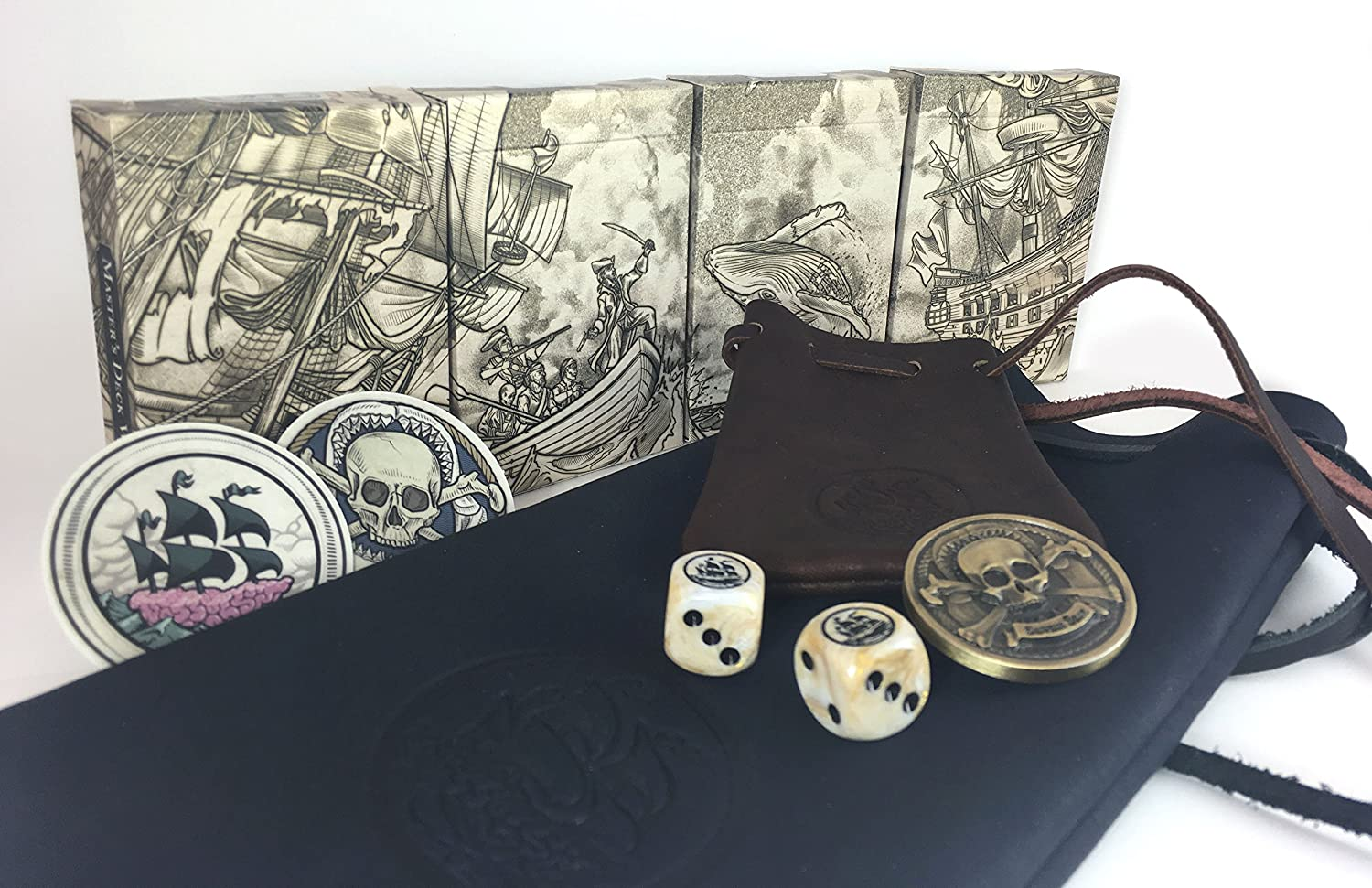 Deluxe Adult Costumes - Pirate Leather Pouch Card and Dice Gambling Set.