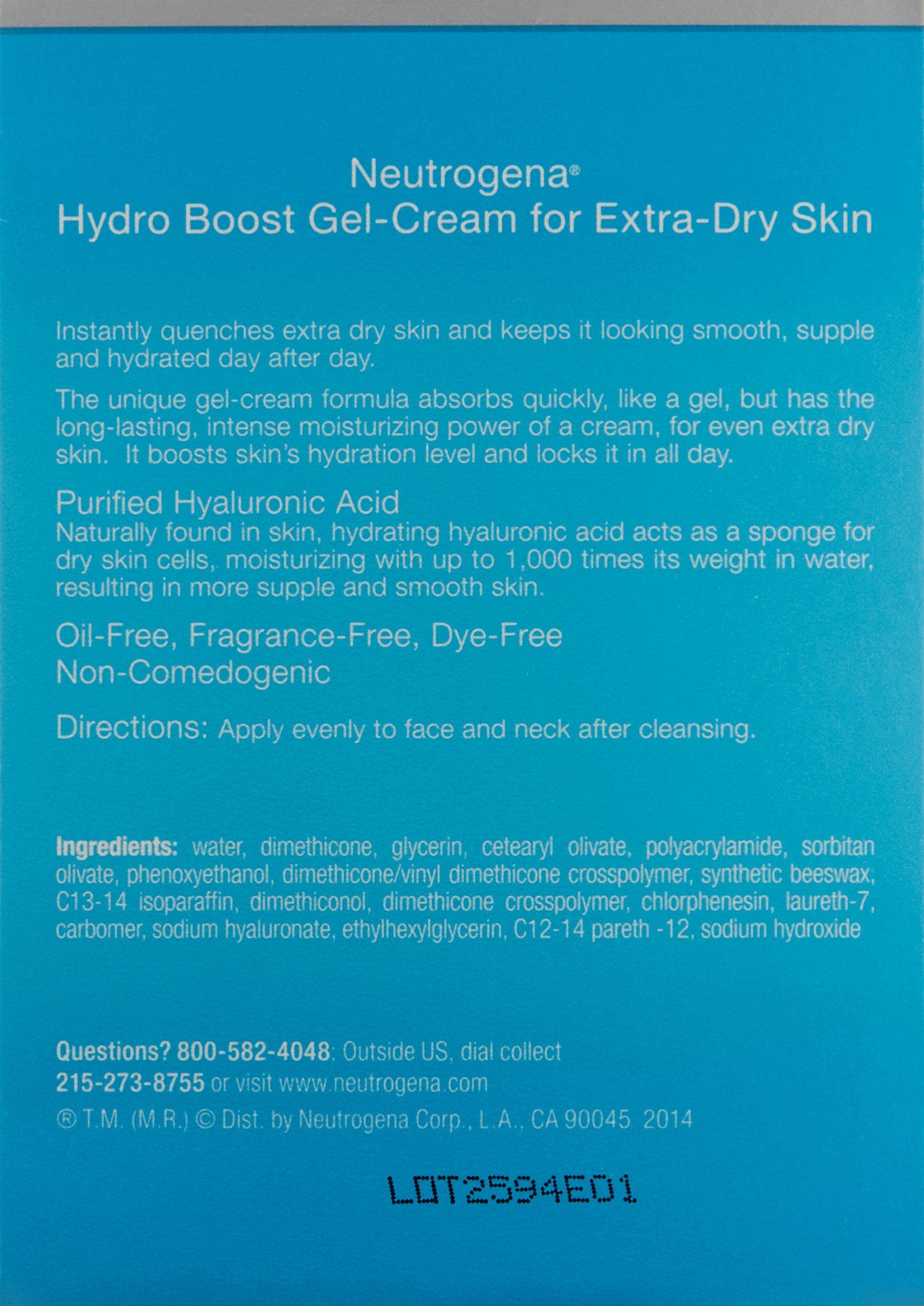 Neutrogena Hydro Boost Hyaluronic Acid Hydrating Face Moisturizer Gel-Cream to Hydrate and Smooth Extra-Dry Skin, 1.7 oz by Neutrogena (Image #2)