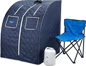 Durasage Oversized Portable Steam Sauna Spa for Weight Loss, Detox, Relaxation at Home, 60 Minute Timer, 800 Watt Steam Generator, Chair Included, 1.5 Year Warranty (Satin Blue)