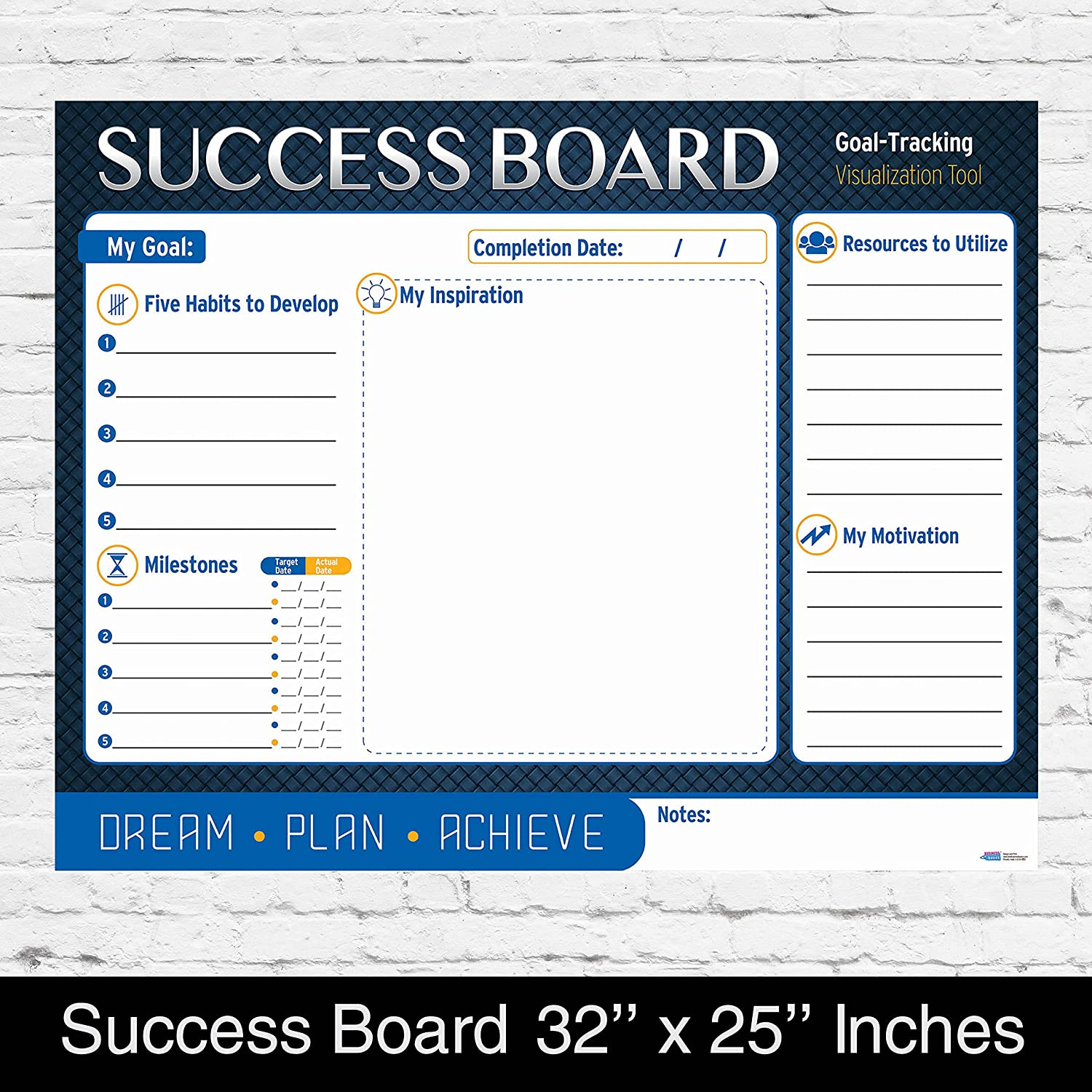 Personal Planning Success Board by Business Basics Wall Master Strategic Project Goal Setting Dry or Wet Erase Poster Perfect for Home & Office Work Use For College Students and CEO Entrepreneurs