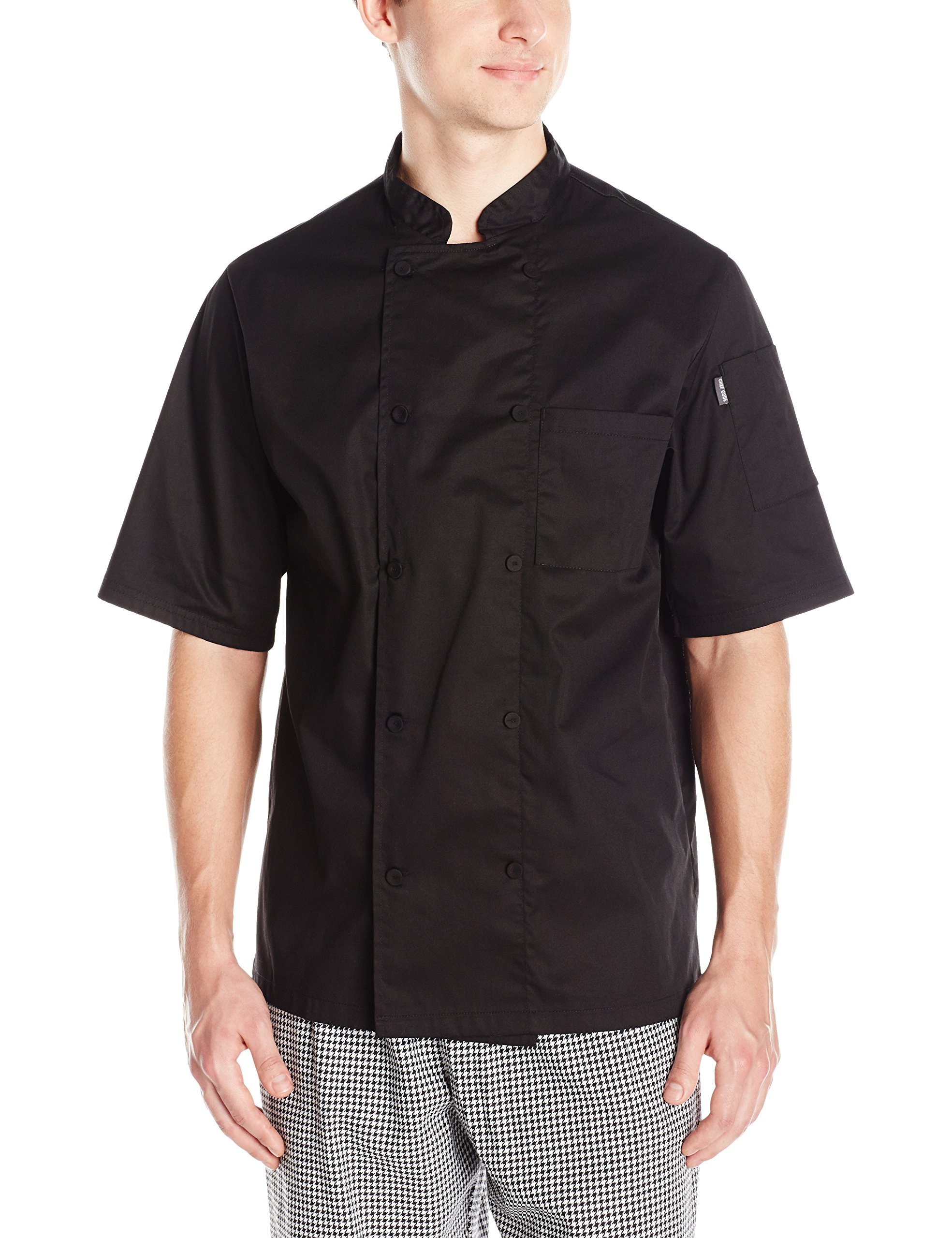 Chef Code Men's Short Sleeve Unisex Cool Breeze Chef Coats, Black, Large by Chef Code