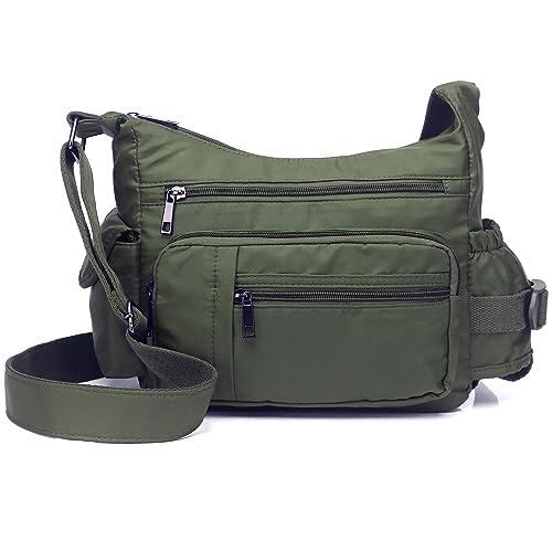e474843277 Volcanic Rock Shoulder Bags Messenger Handbags Multi Pocket Waterproof Crossbody  Bags(Army Green-9.8 quot