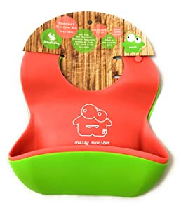 Pack of 2 Super Soft Silicone Baby Weaning Bibs by Jump Baby Messy Monster (1 Red, 1 Lime Green Bib). Waterproof with Roomy Crumb Catcher for Babies and Toddlers