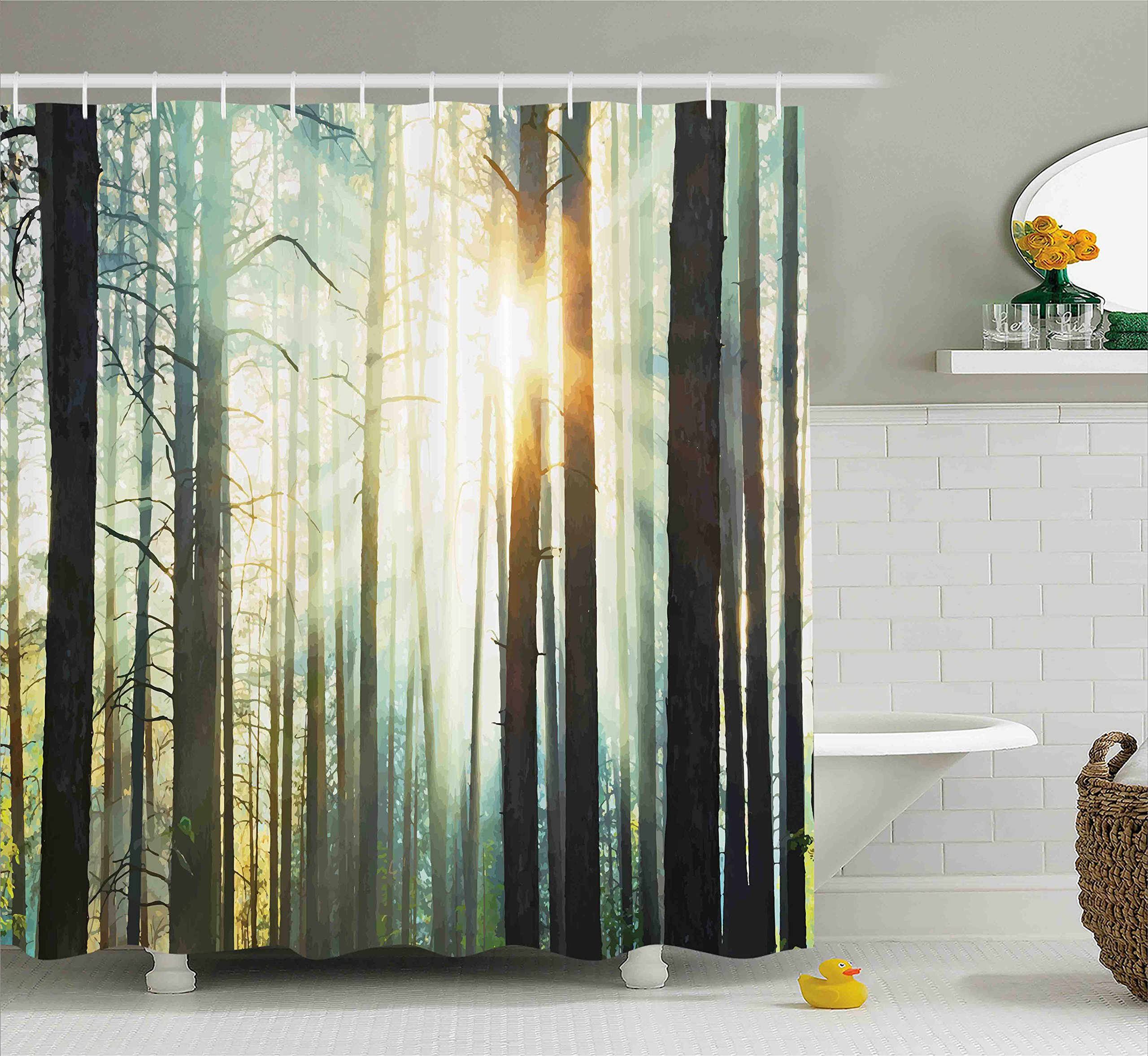Ambesonne Nature Shower Curtain, Mist in The Enchanted Forest with Sunbeams Painting Effect Digital Art Image, Cloth Fabric Bathroom Decor Set with Hooks, 75'' Long, Dark Brown