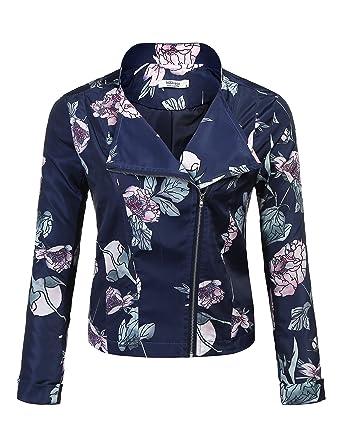 Meaneor Damen Kurze Jacke Blumenmuster Bomberjacke Fliegerjacke Blazer Vorne Reißverschluss Großes Revers Kurz Jacket Frühling