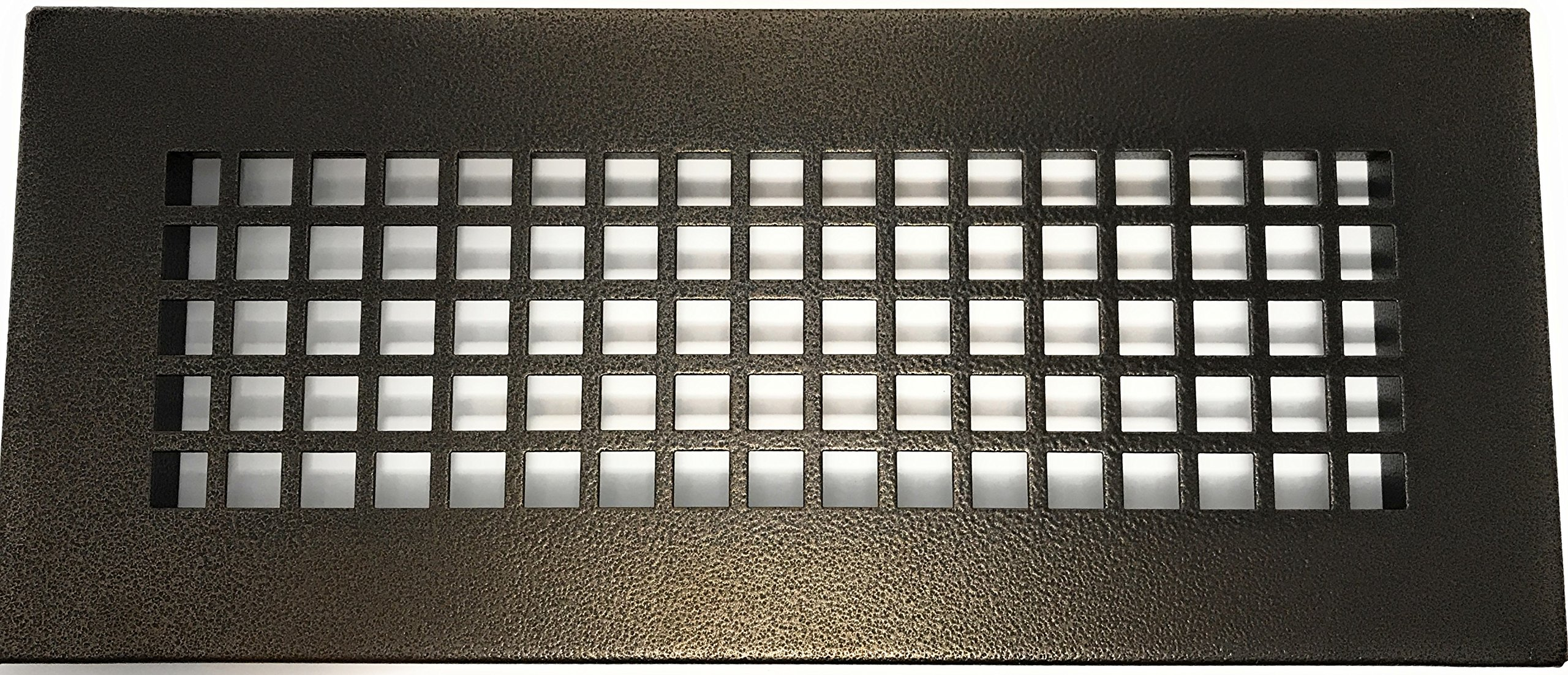 4'' x 10'' Oil Rubbed Bronze Steel Square Pattern Floor Register with Damper ( 6'' x 12'' Overall; No Holes)