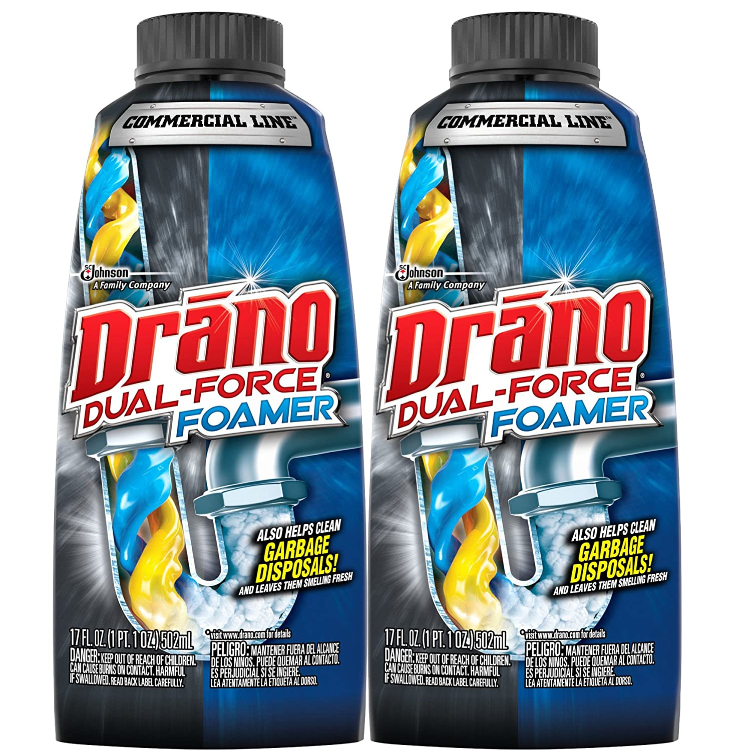 Amazon.com: Drano Commercial Line Dual-Force Foamer 17 Ounces, 2 ...