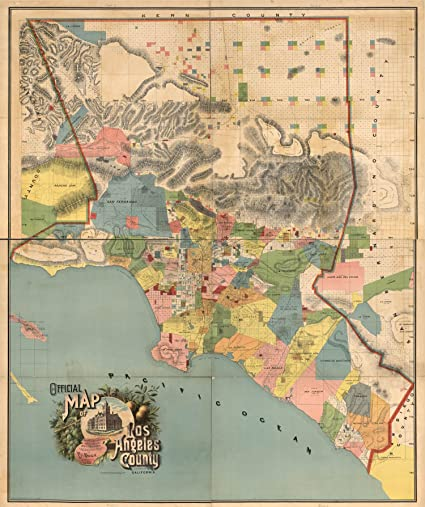 Amazon.com: Map Poster   Official map of Los Angeles County