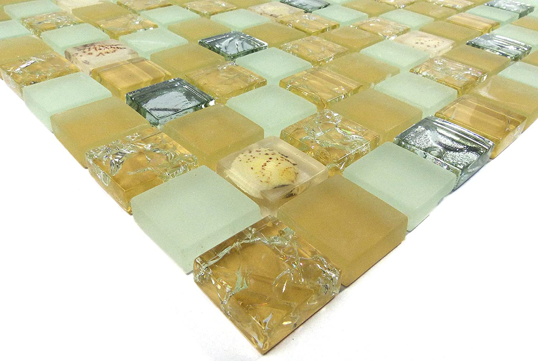 Fliesen Mosaik Mosaikfliesen Glasmosaik gl/änzend Mix Bad WC K/üche 8mm Neu #S17
