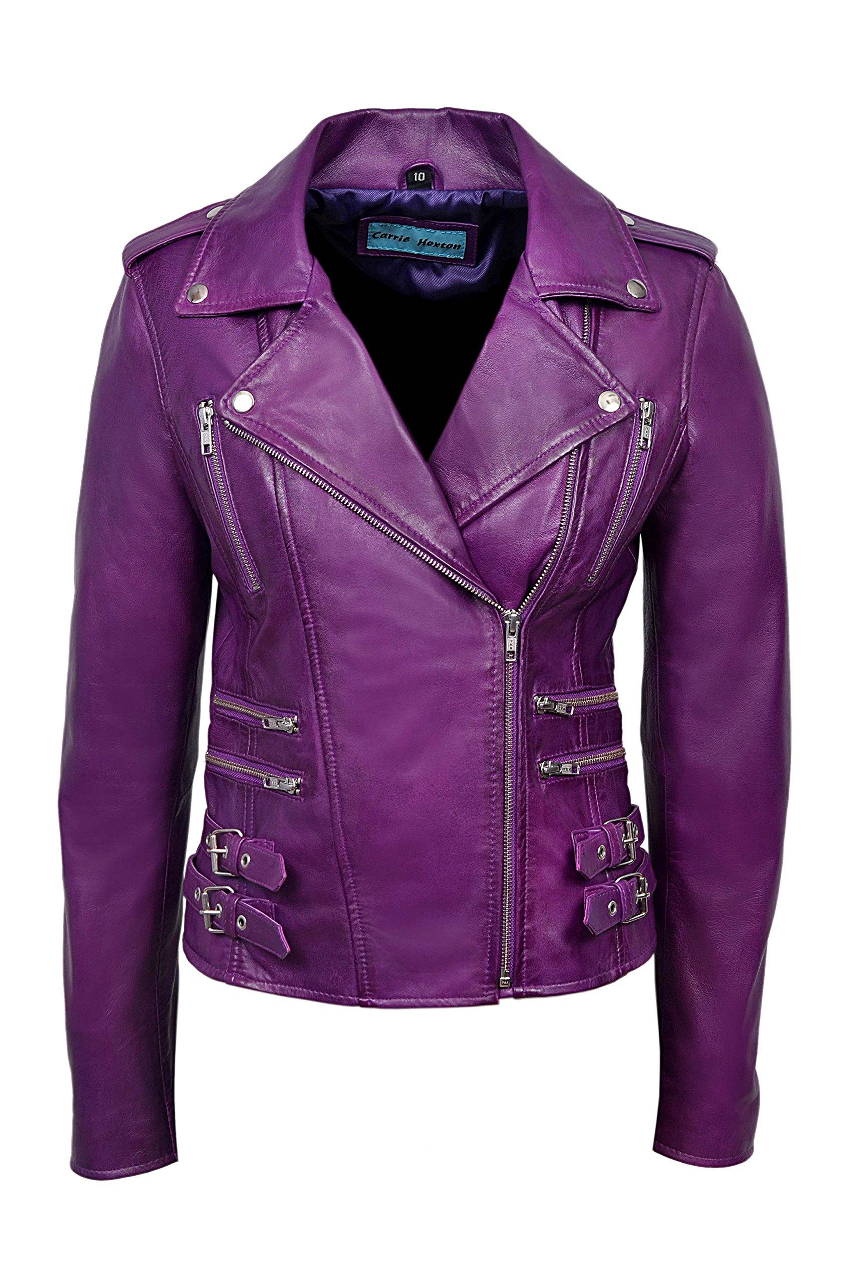 'MYSTIQUE' Ladies Purple Biker Style Motorcycle Designer Nappa Leather Jacket (UK 10/US 6)