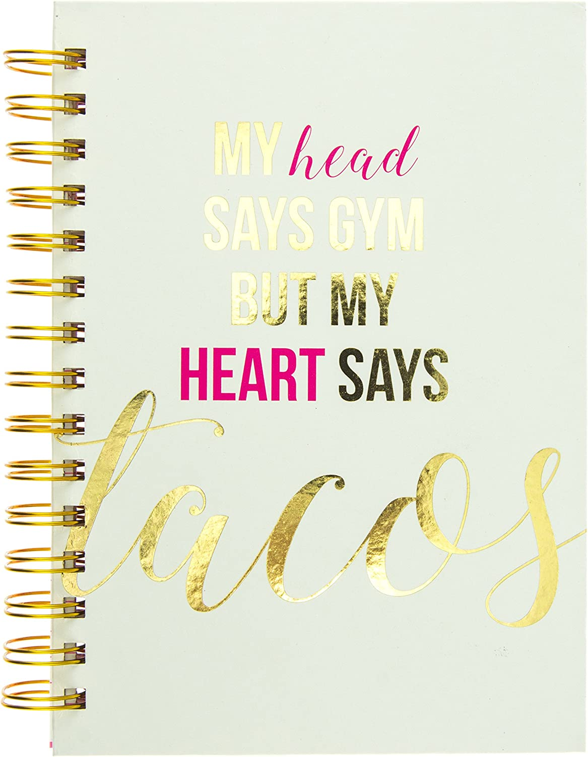 6.25 x 8.25 x 1 Durable Notebook 160 Ruled Pages Graphique Cardio Hard Cover Journal w//Shopping is My Cardio Printed in Silver Holographic Foil