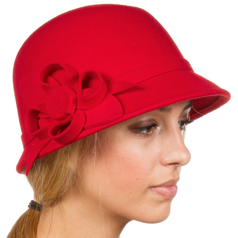 Sakkas Gia Womens Vintage Style 100% Wool Cloche Hat 5055460114465