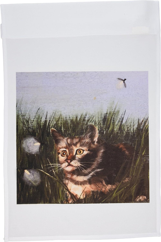 3dRose fl_44352_1 Kitten Hiding in Grass Staring Straight up at Lightning Bugs Garden Flag, 12 by 18-Inch