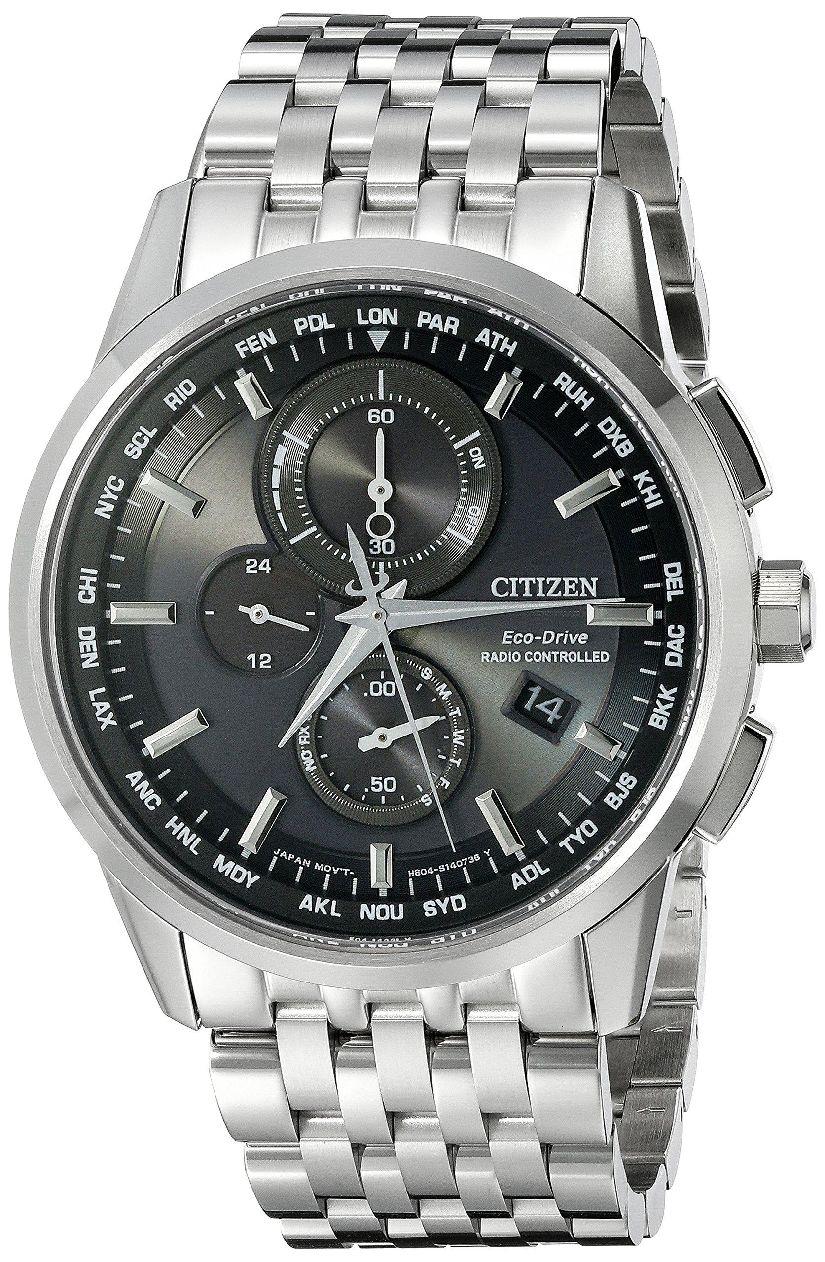 Citizen Men's AT8110-53E World Chronograph A-T Analog Display Japanese Quartz Silver Watch
