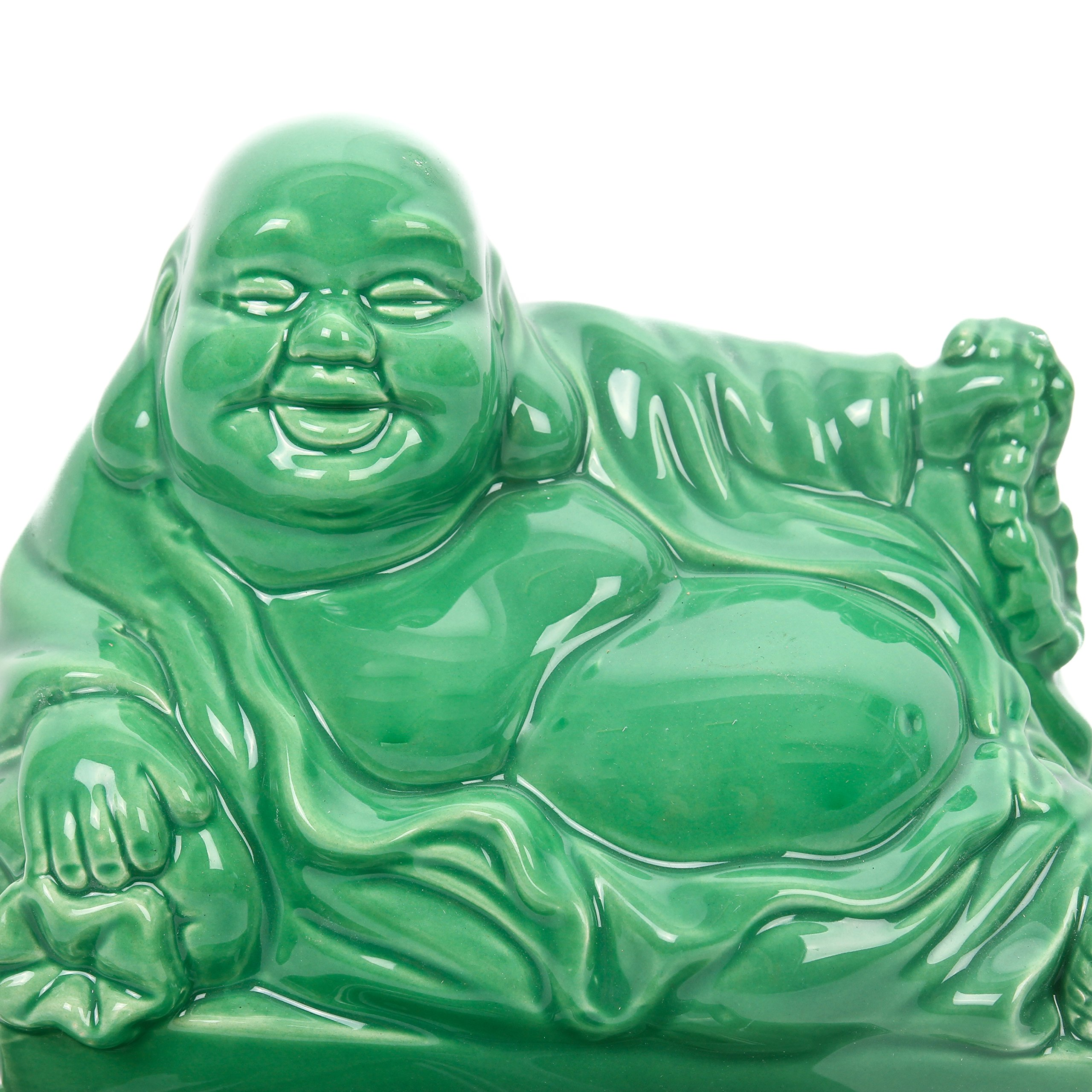 CKB Ltd Buddha Budai Decoration Vintage Home Butter Dish - Novelty Cool Tray with Lid (Jade Green)