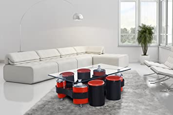 Modernique Beijing Glass Coffee Table 4 Storage Stools In High Gloss Clear  Glass Top Available In