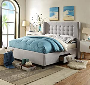 Iconic Home Charles Contemporary Light Grey Tufted Linen with Nailhead Trim Platform Storage Bed, King (BD21-12LG-K1-AN)