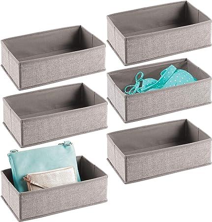 mDesign Juego de 6 cajas organizadoras de tela – Organizadores para cajones o armarios de polipropileno (pequeños) – Cestas de tela de múltiples usos – gris: Amazon.es: Hogar