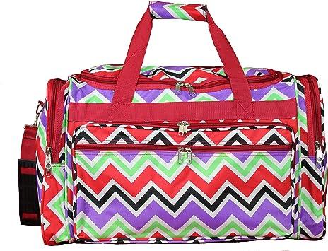World Traveler Duffel Bag Red Trim Chevron Multi