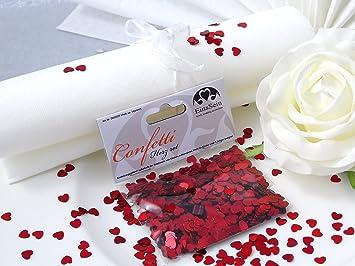 Einssein 14g Streudeko Konfetti Hochzeit Herz Klein Rot Metallisch