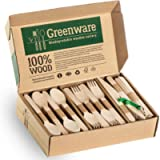 Disposable Wooden Cutlery Set   Biodegradable Compostable Flatware Combo Pack of 300- 80 Forks, 80 Spoons, 40 Knives,100…