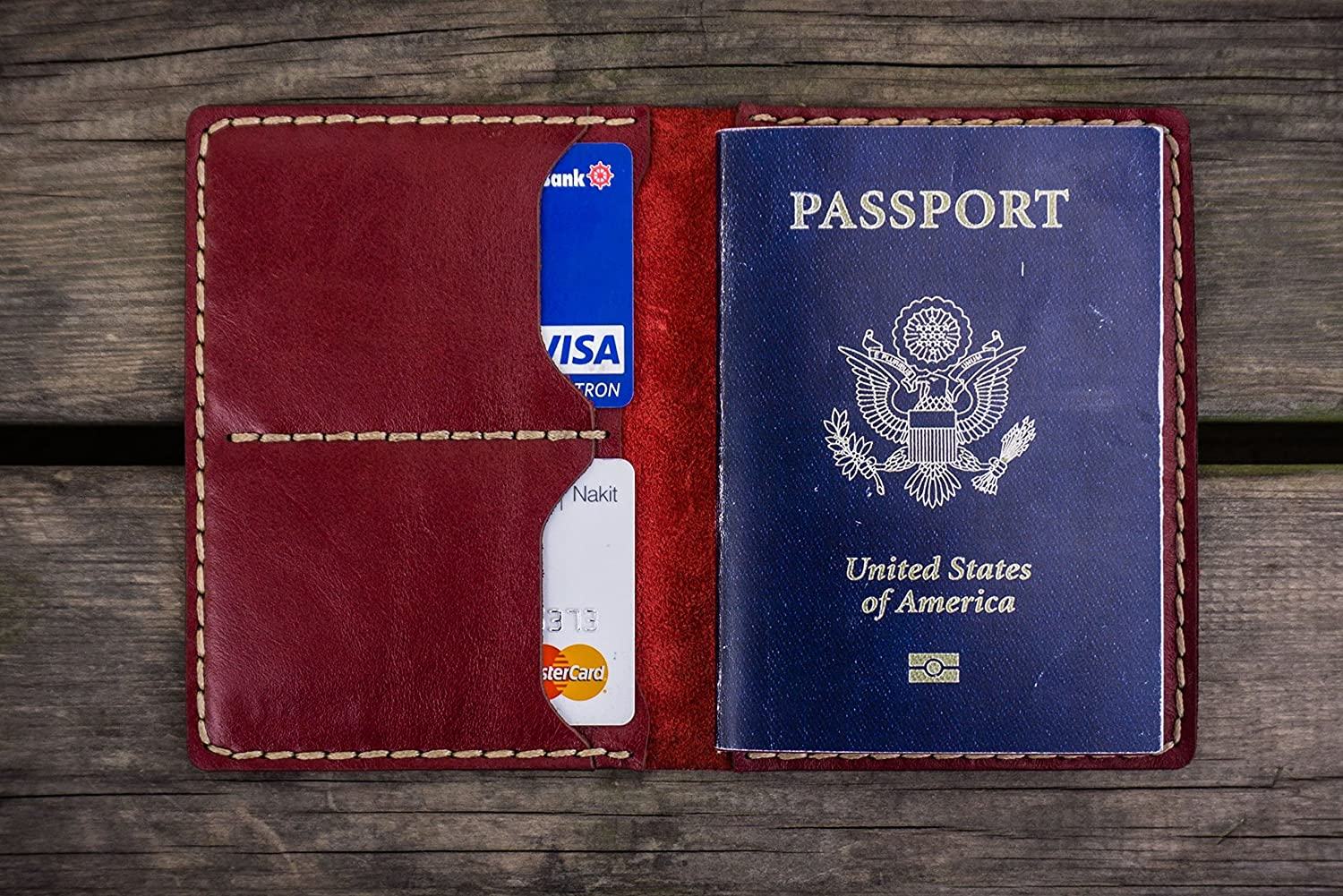 NO.06 Leather Passport Wallet - Red