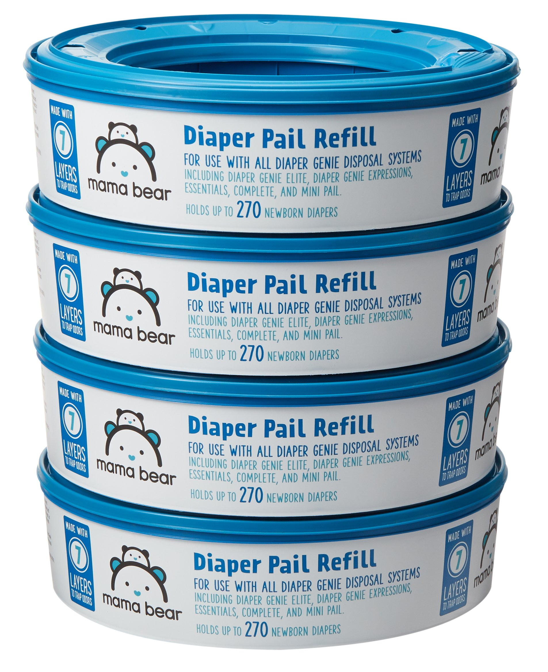 Amazon Brand - Mama Bear Diaper Pail Refills for Diaper Genie Pails, 270 Count (Pack of 4)