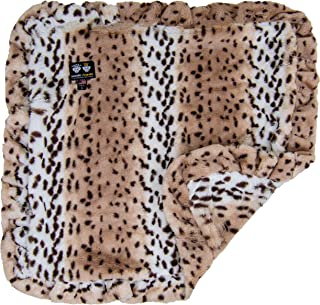 "product image for BESSIE AND BARNIE Aspen Snow Leopard (Ruffles) Luxury Ultra Plush Faux Fur Pet, Dog, Cat, Puppy Super Soft Reversible Blanket (Multiple Sizes), LG - 56"" x 36"""