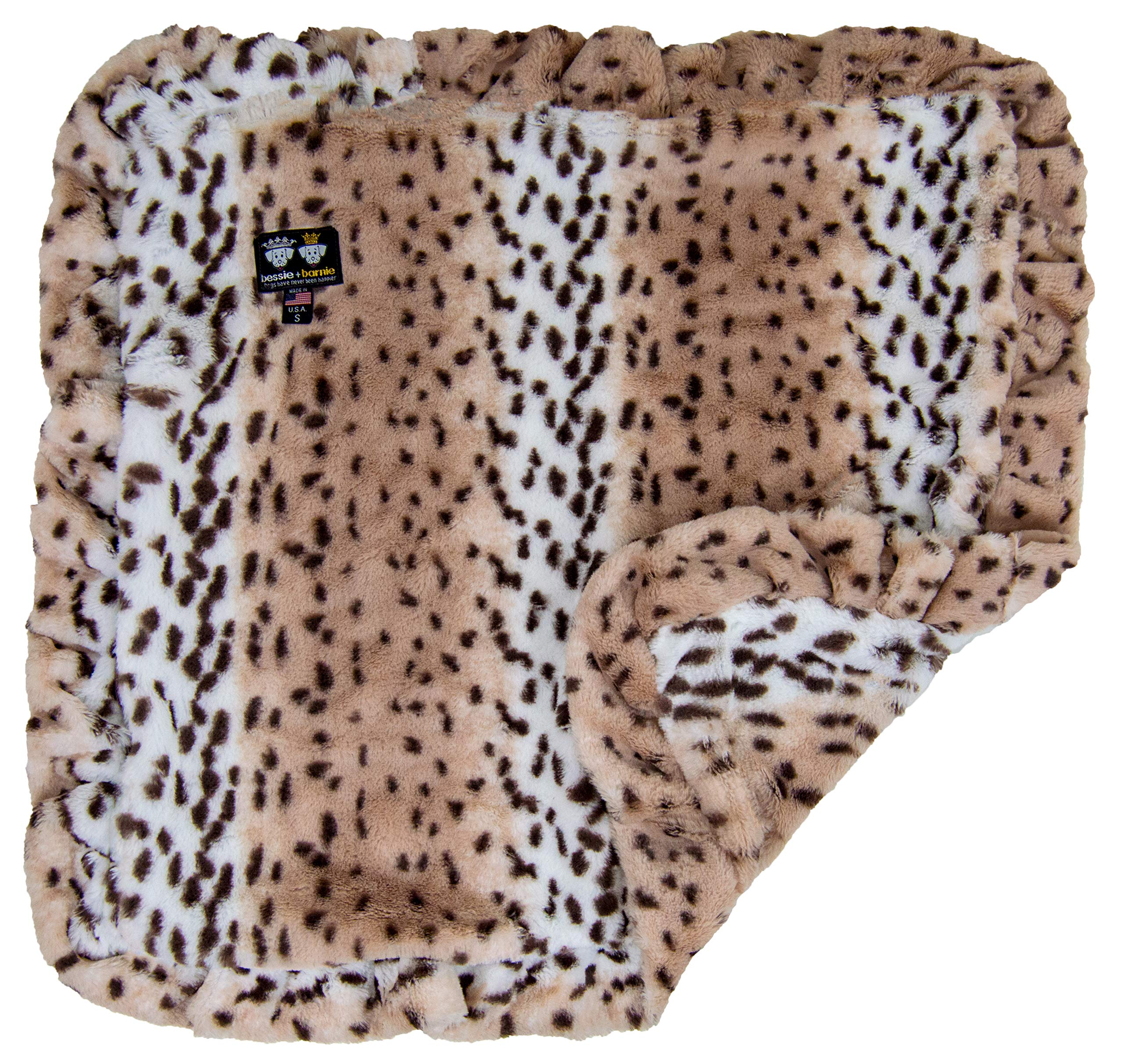 BESSIE AND BARNIE Aspen Snow Leopard (Ruffles) Luxury Ultra Plush Faux Fur Pet, Dog, Cat, Puppy Super Soft Reversible Blanket (Multiple Sizes)