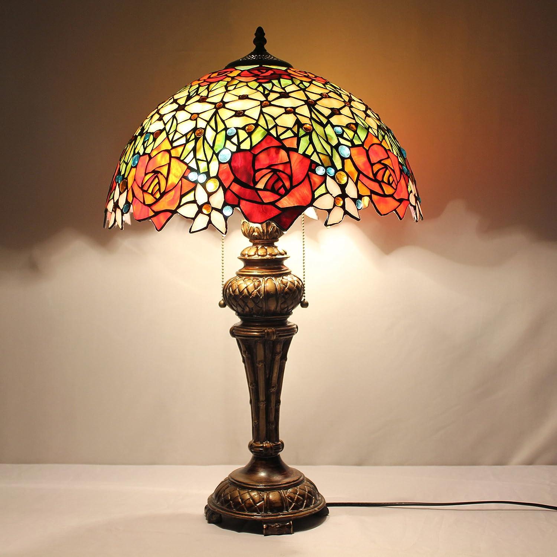 16 pulgadas de Rose Europea Tiffany lámpara de mesa colorido del ...