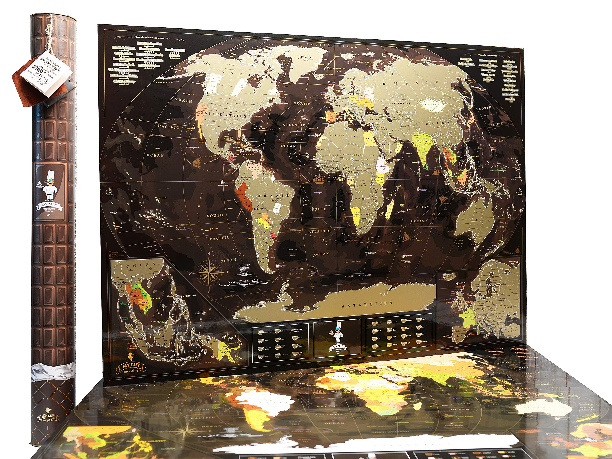 World Scratch Off Map Coffee Gold w/ enLarge Europe and Asia Map | 35'' x 25'' Push Pin Travel Map to Mark your Trips and Adventures by MyMap