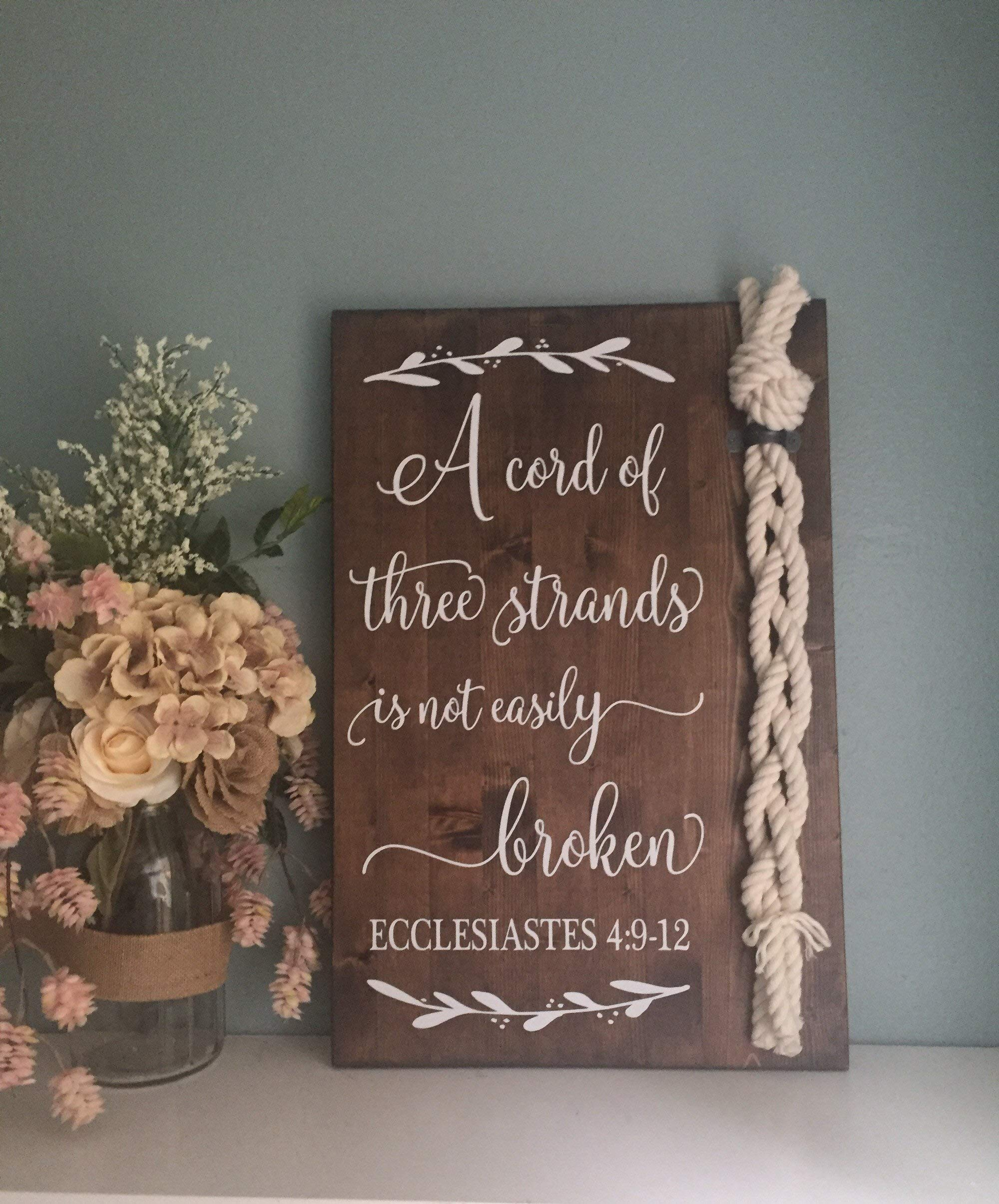 CELYCASY Cord of Three Strands Sign Ecclesiastes 4912 Alternative Unity Candle Unity Ceremony Sign Wedding Gift by CELYCASY