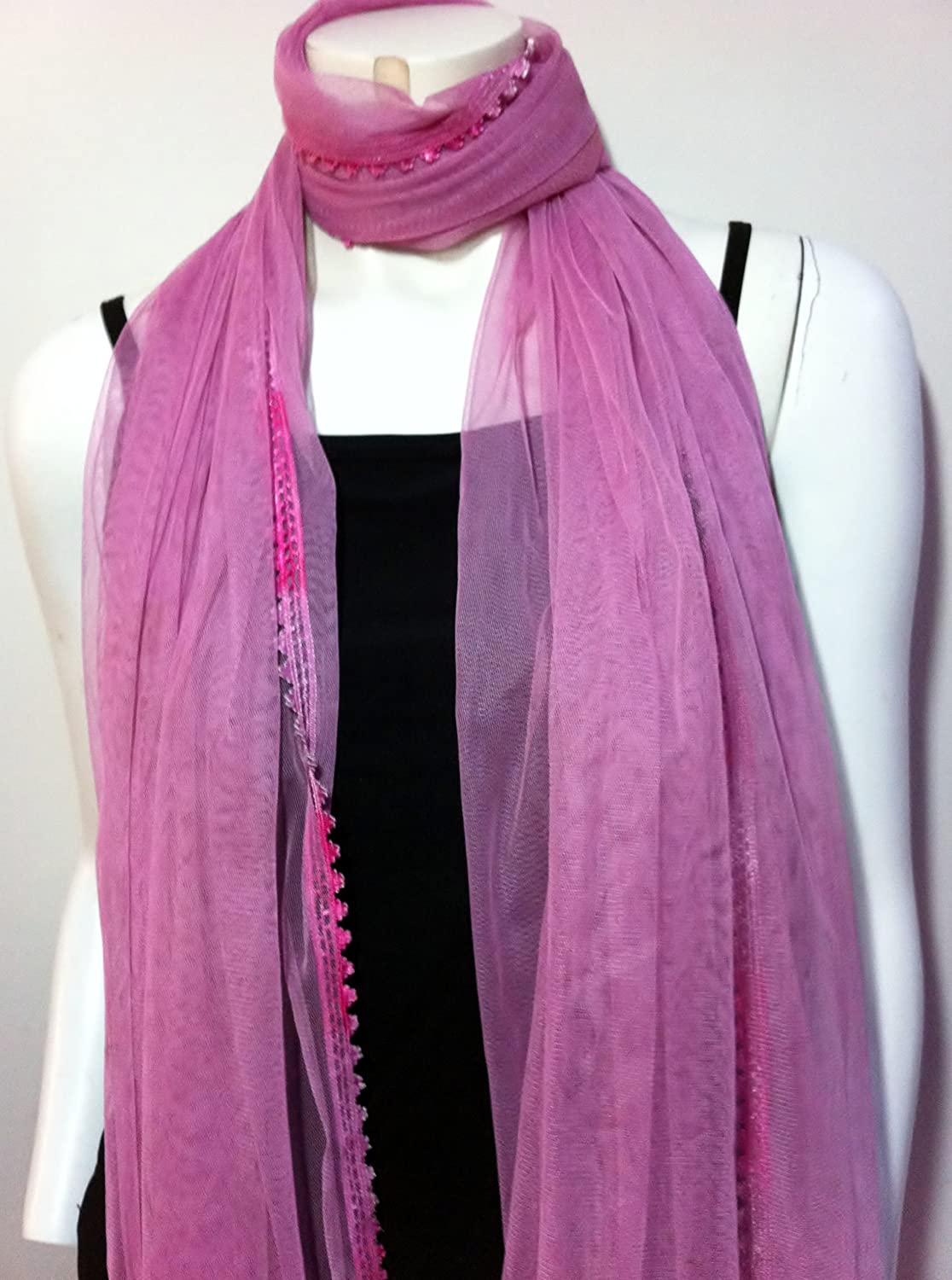 Long Pink Net Scarf, Cool Accessory, Neck Wear Wrap, Great Affordable Gift for Girls Women Ladies
