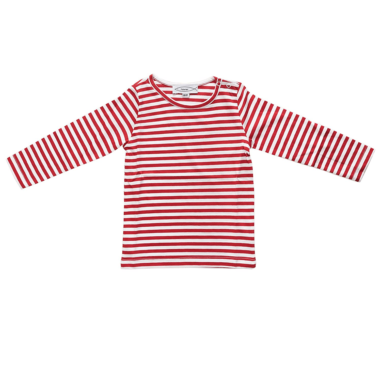 Fishermen Kinder Langarm-T-Shirt Michel Rot//Wei/ß Schmal Gestreift