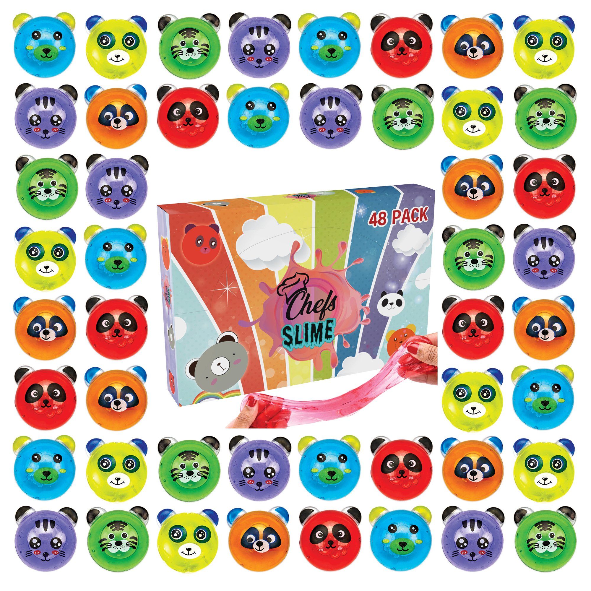 ChefSlime - New: | 48 Pack | Fluffy & Stretchy Animal Mud Slime Putty | Non Sticky | Stress Relief, Super Soft & Squishy Sludge Toy for Kids and Adults | Jumbo Pack