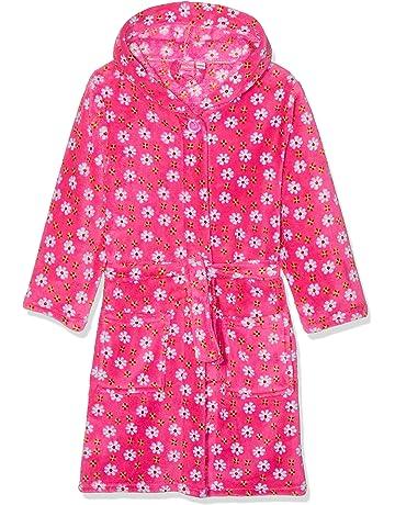 64b1843fc115f Playshoes Girl's Hooded Fleece Flowers Bathrobe