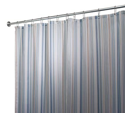 InterDesign Stripe Fabric Shower Curtain 72quot X Blue