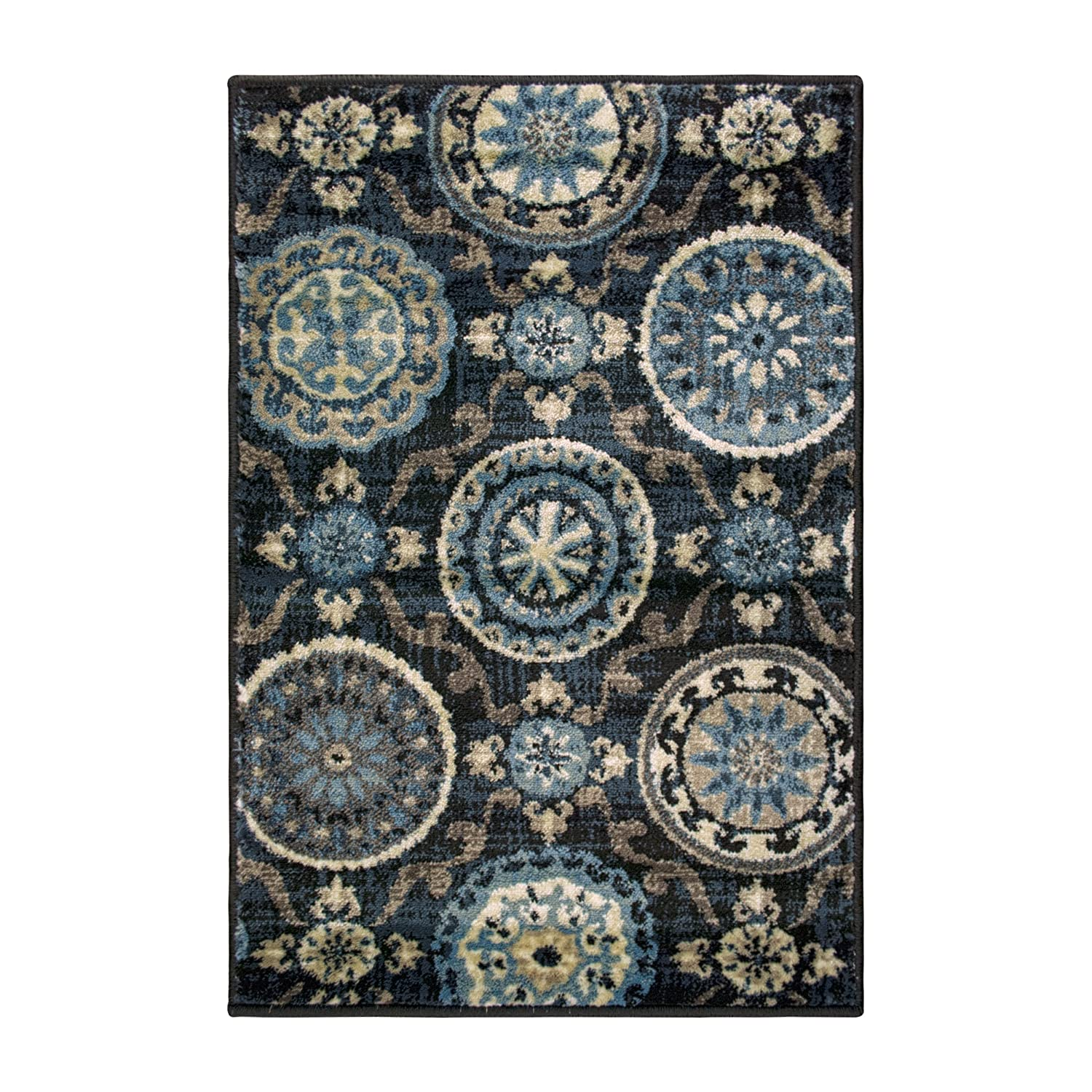 27 x 8 Runner Cream with Blue and Beige Beautiful Scrolling Medallion Pattern 2/'7 x 8/' Runner 10mm Pile Height with Jute Backing Superior Abner Collection Area Rug Beautiful Scrolling Medallion Pattern Fashionable and Affordable Rugs