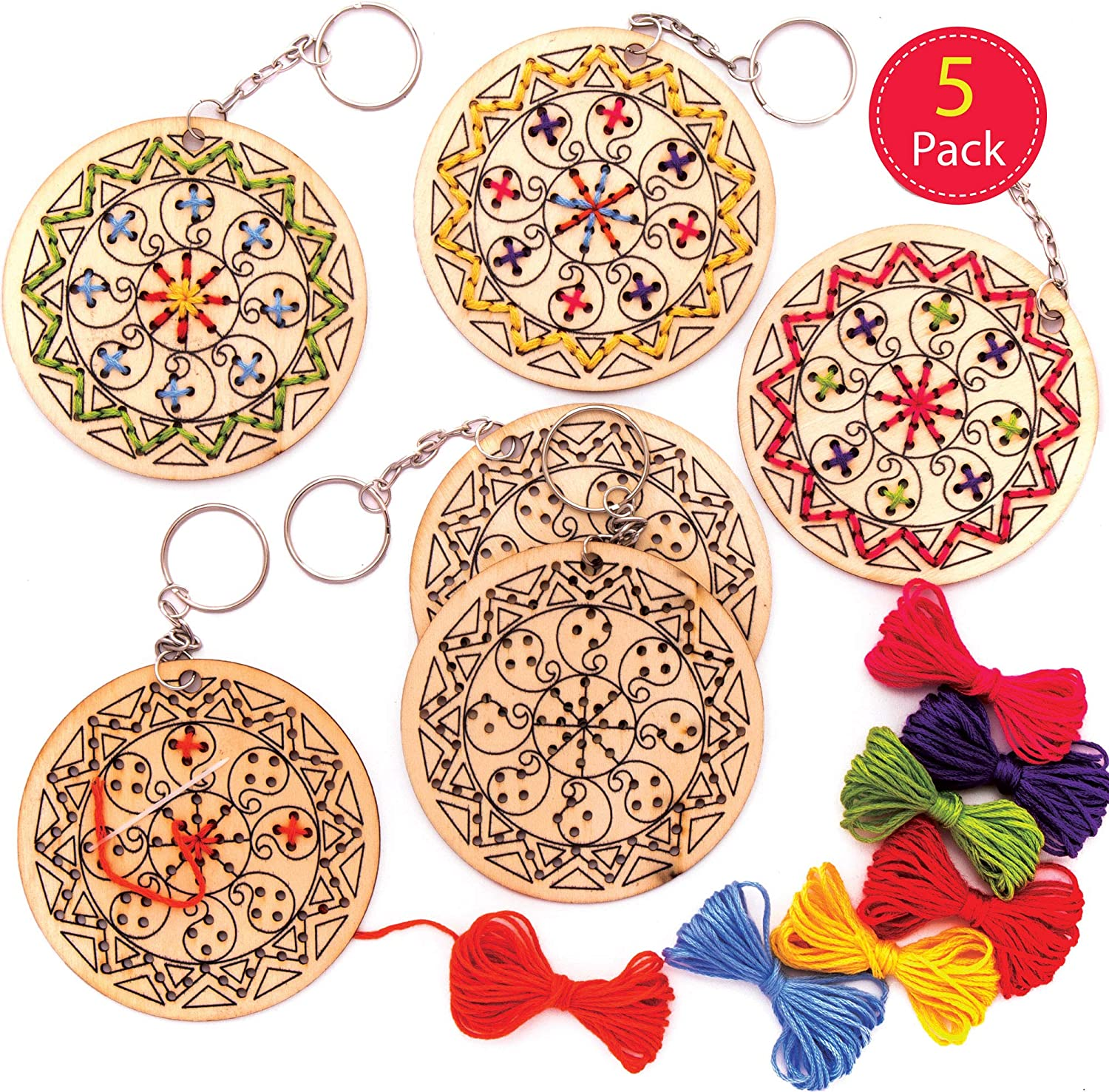 Arts and Crafts for Kids Pack of 5 Baker Ross Rangoli Wooden Cross Stitch Keyring Kits