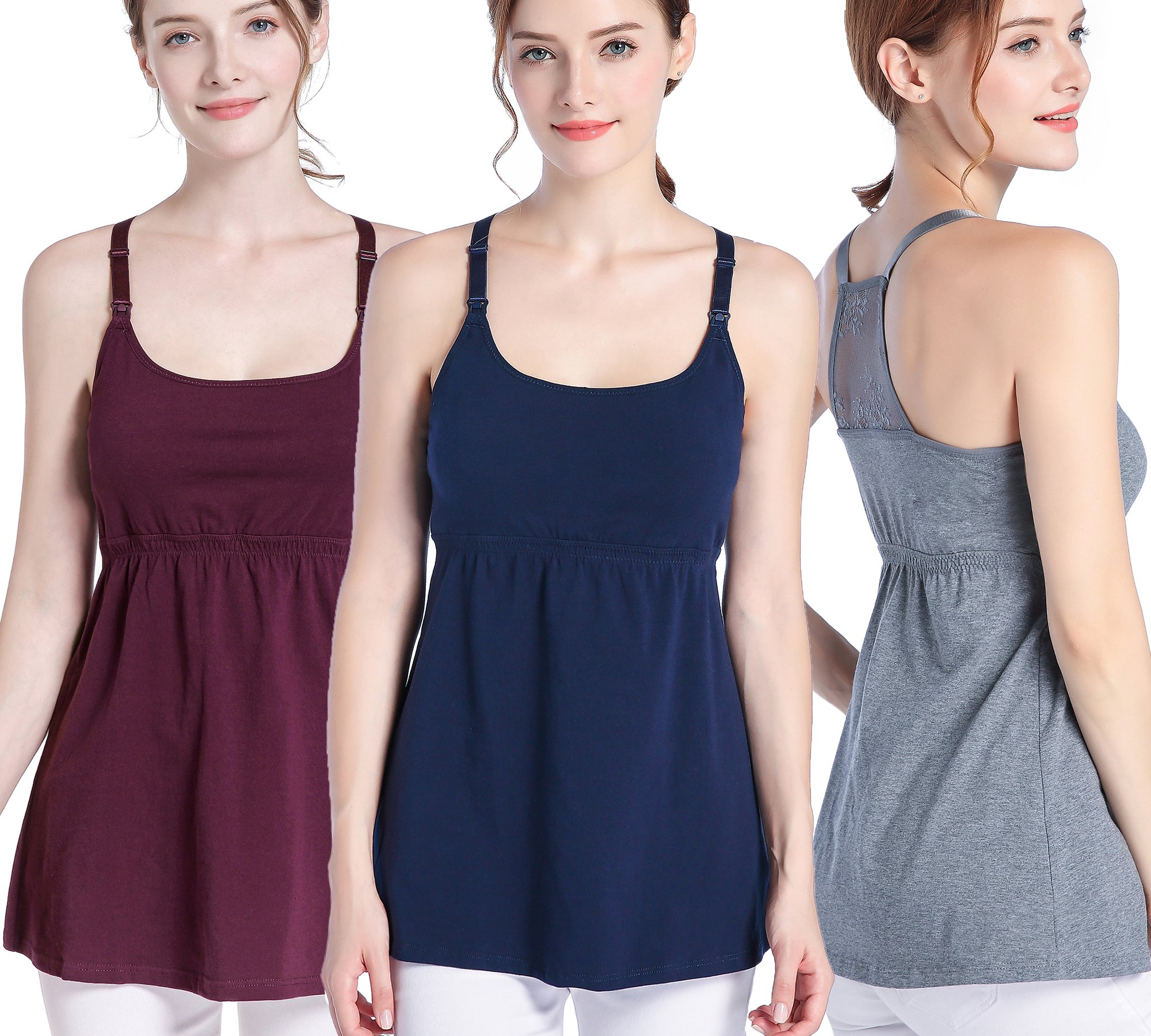 SUIEK 3PACK Nursing Top Tank Cami Maternity Shirt Sleep Bra for Breastfeeding (Medium, Burgundy + Dark Grey + Navy (3/Pack))