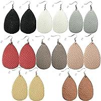 monochef Leather Earrings Lightweight Faux Leather Leaf Dangle Earrings Teardrop Earrings Antique Handmade Earrings for...