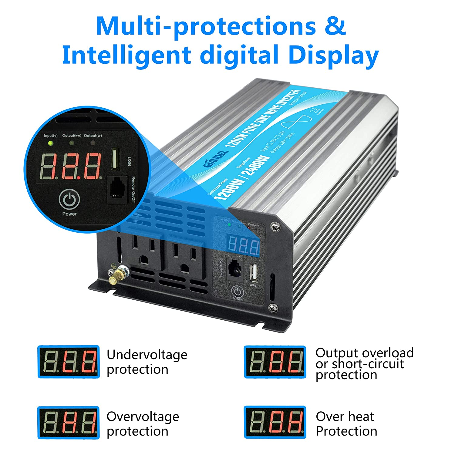 Power Inverter Pure Sine Wave 1200Watt 12V DC to 110V 120V with Remote Control Dual AC Outlets and USB Port for CPAP RV Car Solar System Emergency