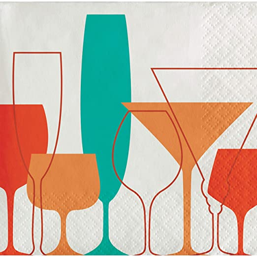 Retro Cocktails Napkins, 72 ct