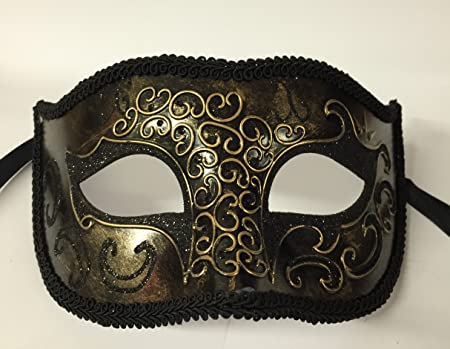 4a76012ade0d Image Unavailable. Image not available for. Colour: MENS Black & Gold Masquerade  Fancy Dress Costume Mardis Gras Eye Mask