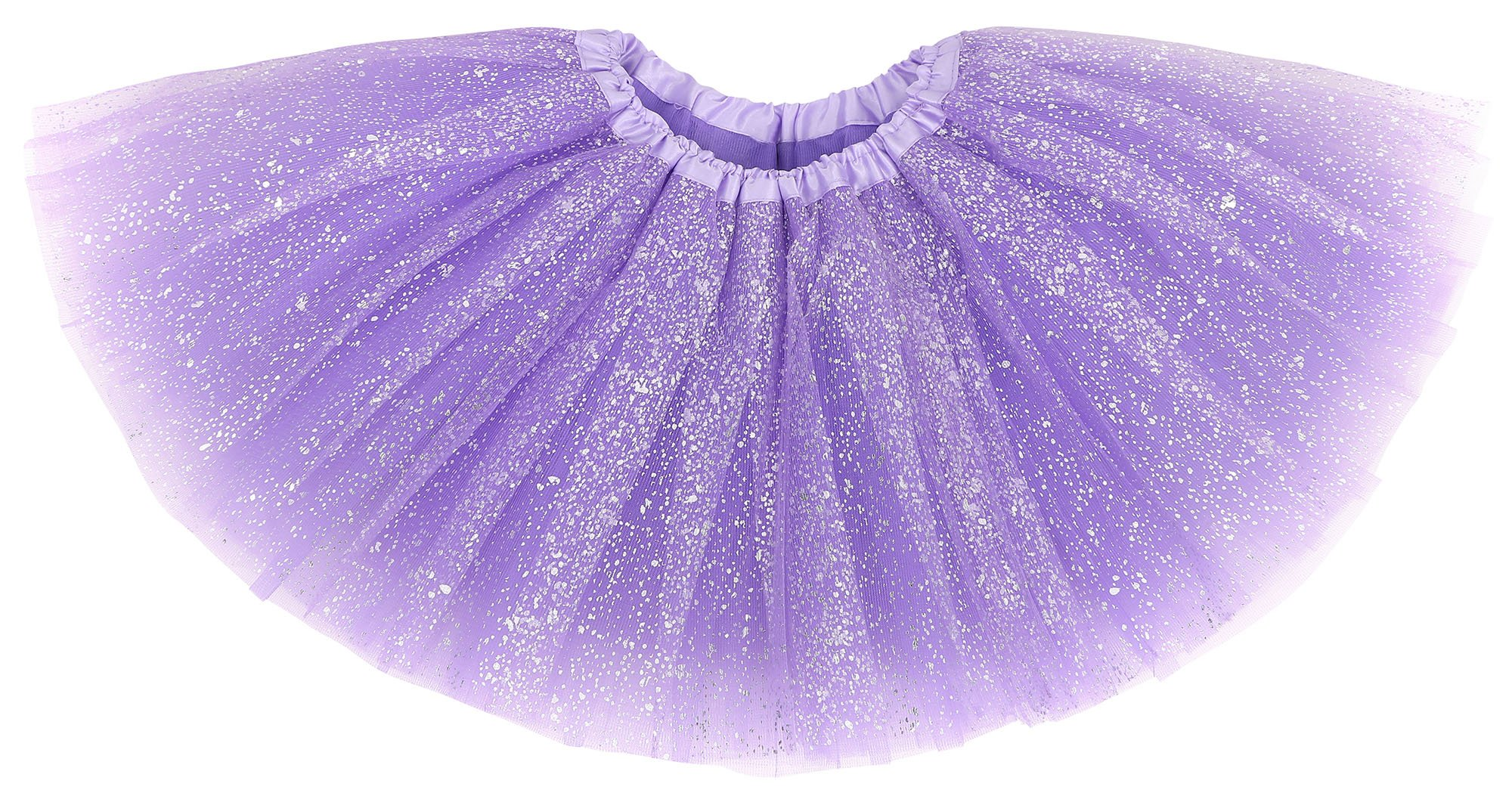 Simplicity Girls Classic 4 Layers Tulle Princess Party Tutu Skirt, Purple Sequins, Child (2-8 years)