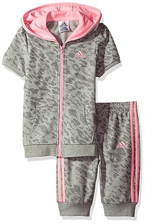adidas Toddler Girls' Cheetah Capri Jogger Set, Grey, ...