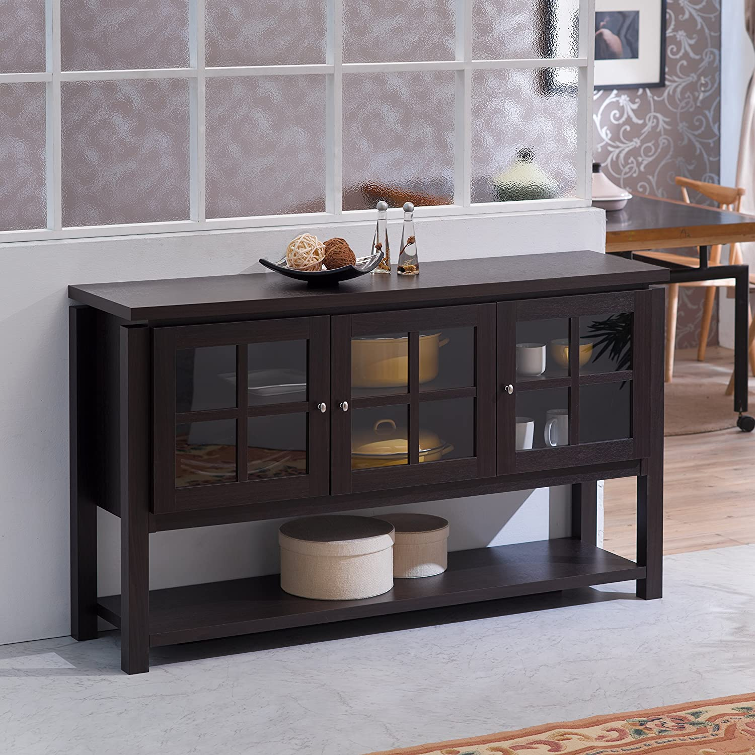 transitional products doors dark storage cherry table server mirrored nafshi with wood console cabinet buffet