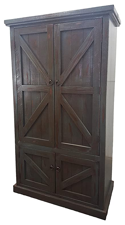Merveilleux American Heartland #30790RBK Rustic Double Door Armoire, Rustic Antique  Black
